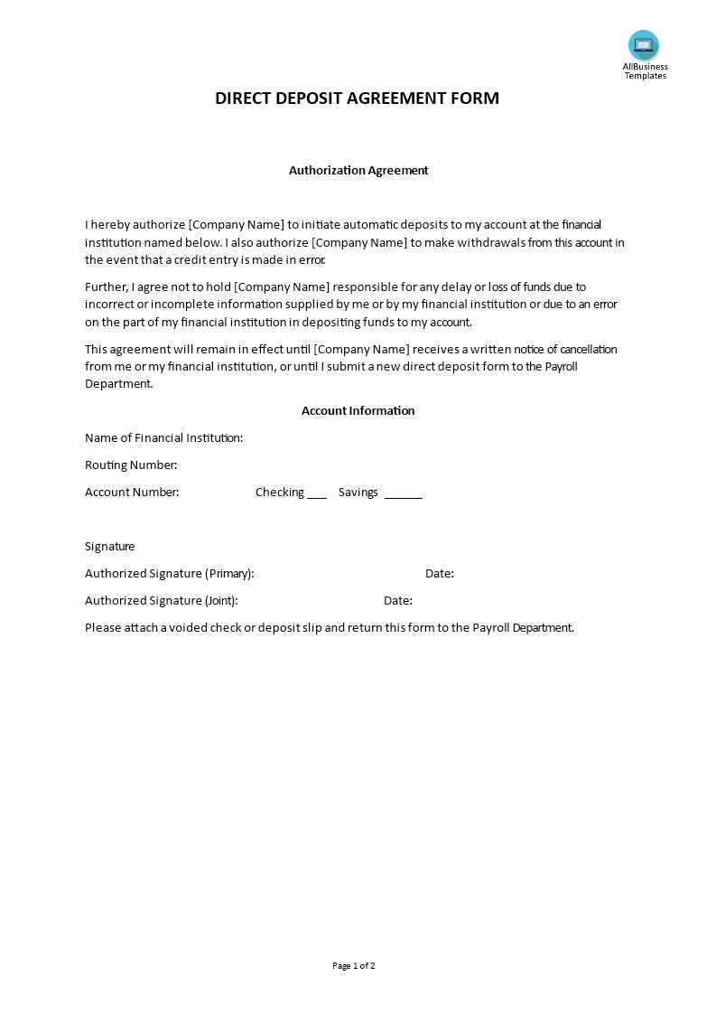 Hr Direct Deposit Agreement Form Templates At Allbusinesstemplates