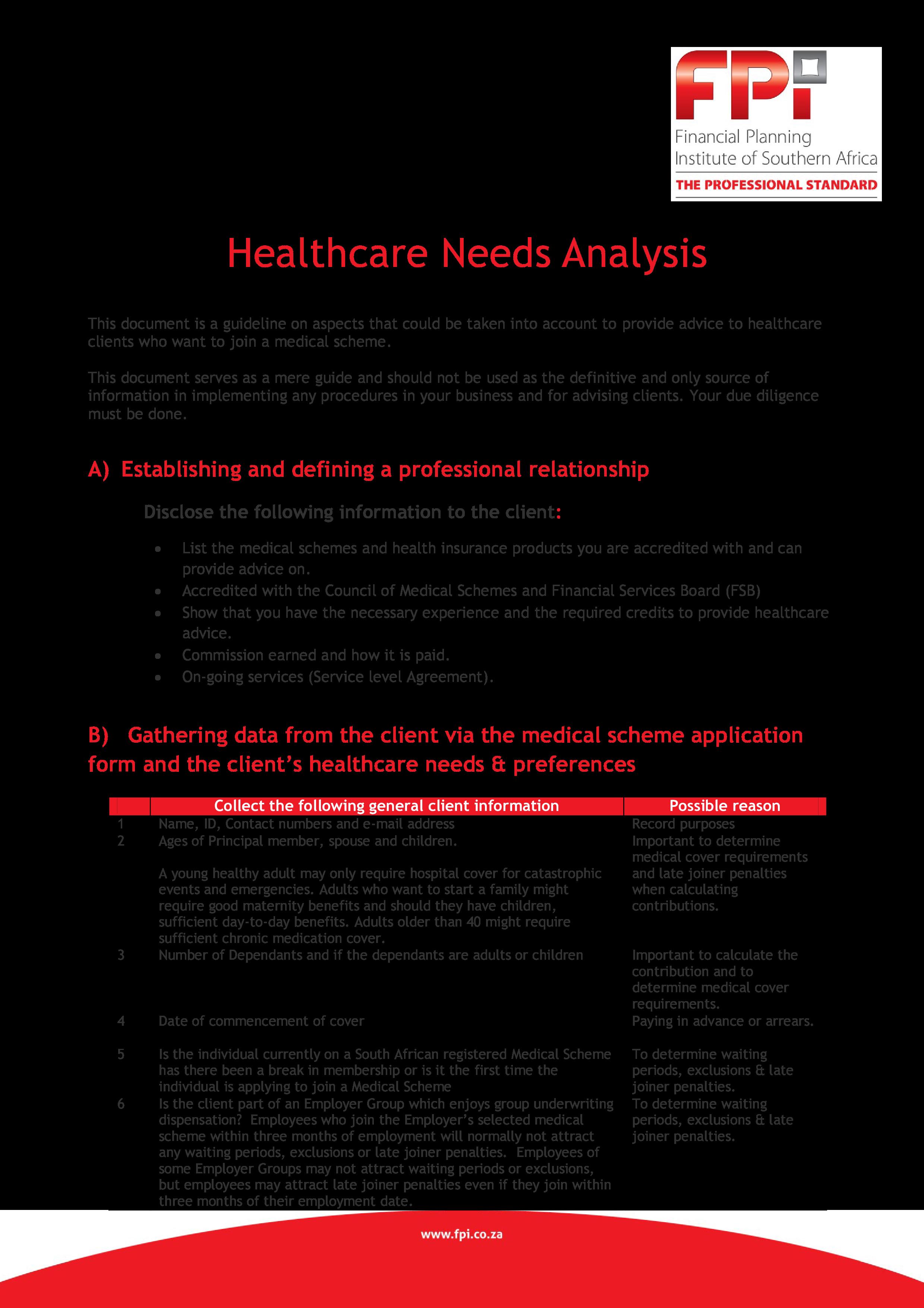 Free Health Needs Analysis Templates At Allbusinesstemplates