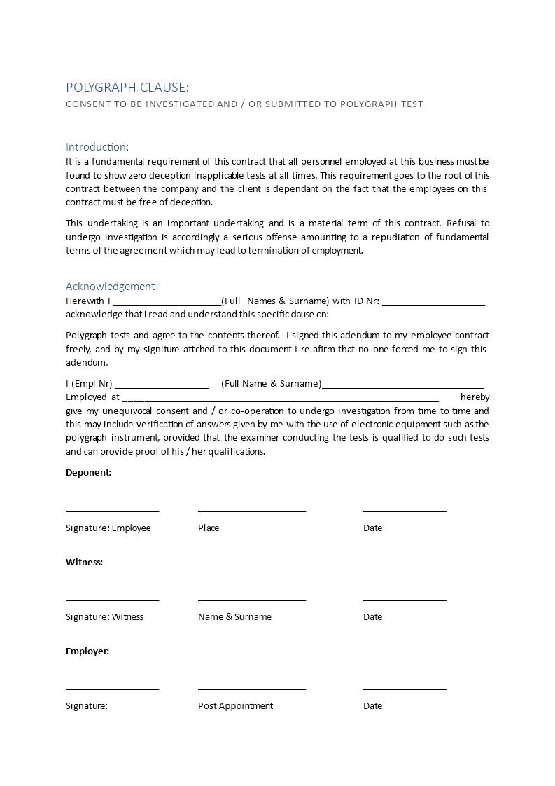 Employee Contract Addendum Regarding Polygraph Test ...