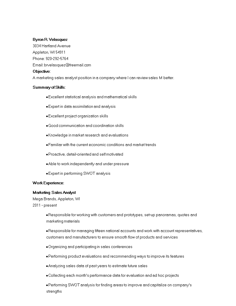 Free Sales Marketing Analyst Resume | Templates at ...