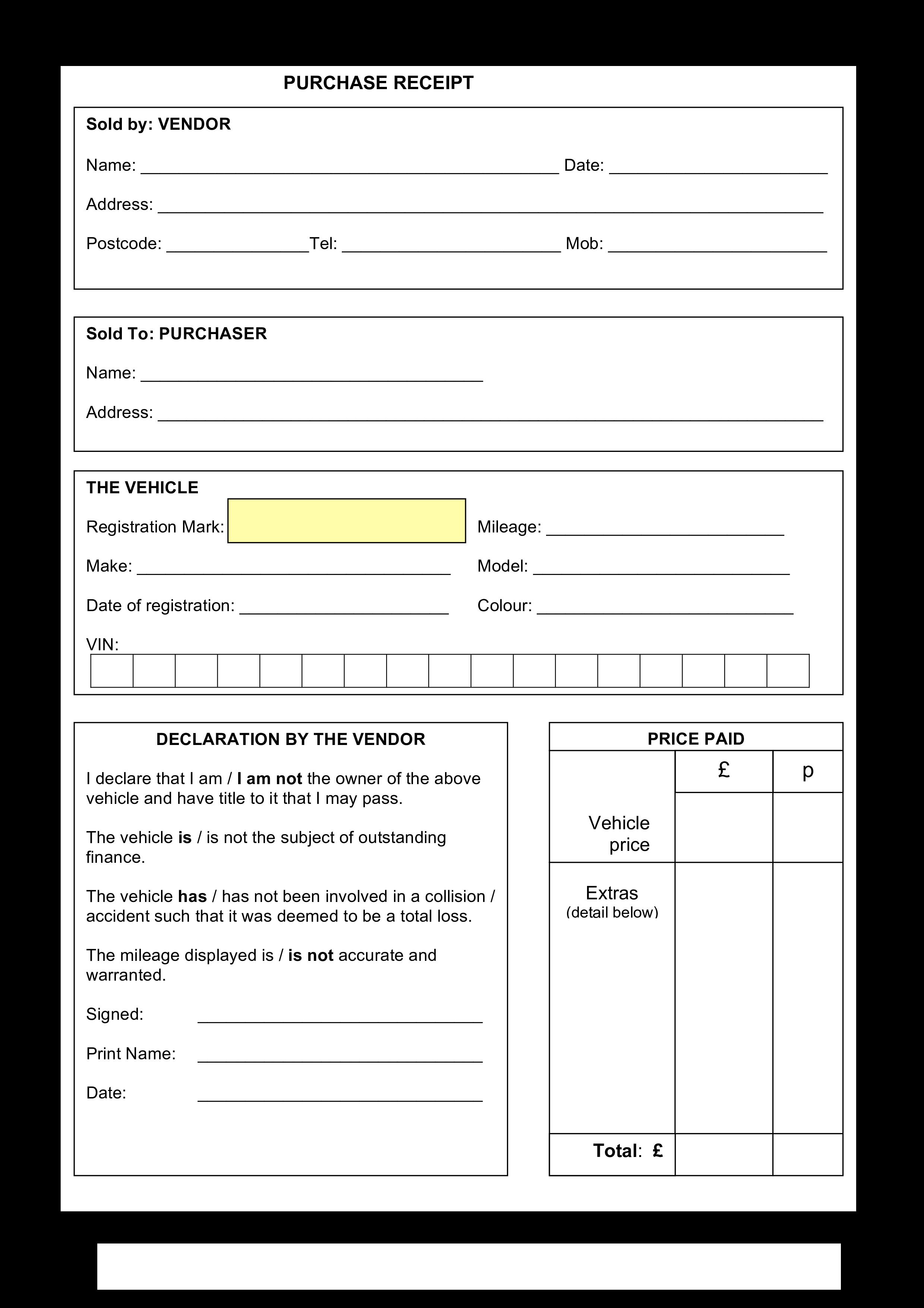 Free Purchase Receipt sample   Templates at allbusinesstemplates.com