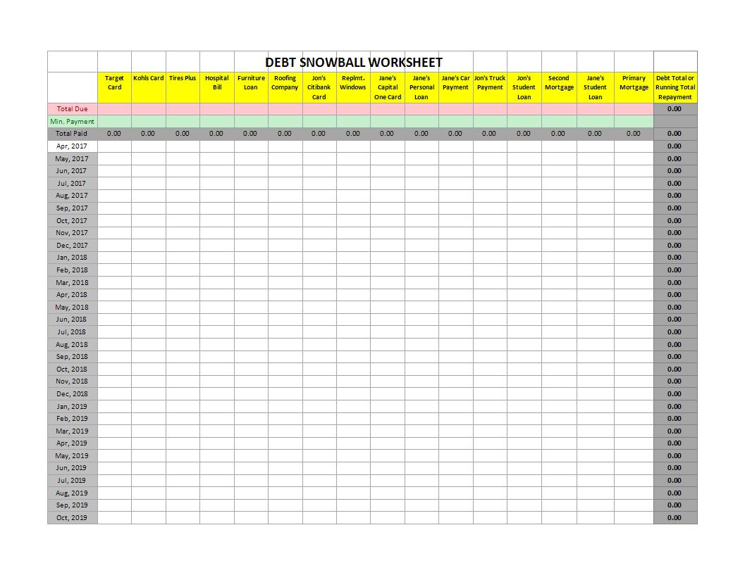 Debt Snowball XLSX Worksheet Excel   Templates at ...