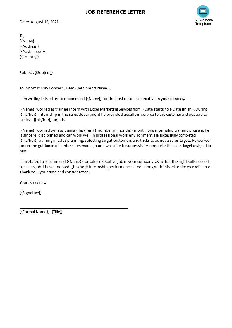 free sales manager reference letter templates at