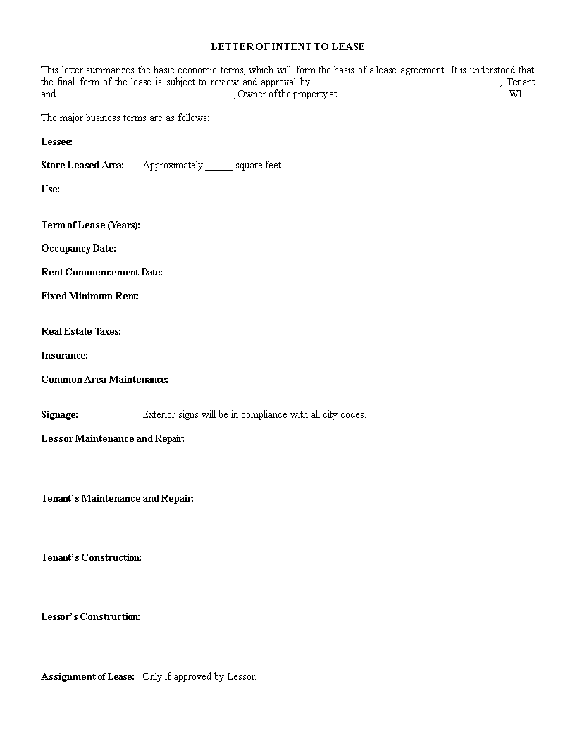 free letter of intent to lease template templates at