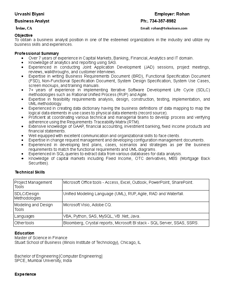 Free business analyst it resume templates at allbusinesstemplates business analyst it resume main image download template accmission Image collections