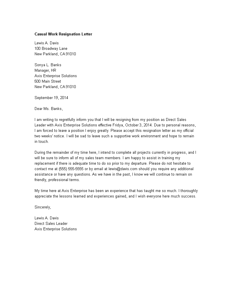 Letter Of Resignation Casual from www.allbusinesstemplates.com