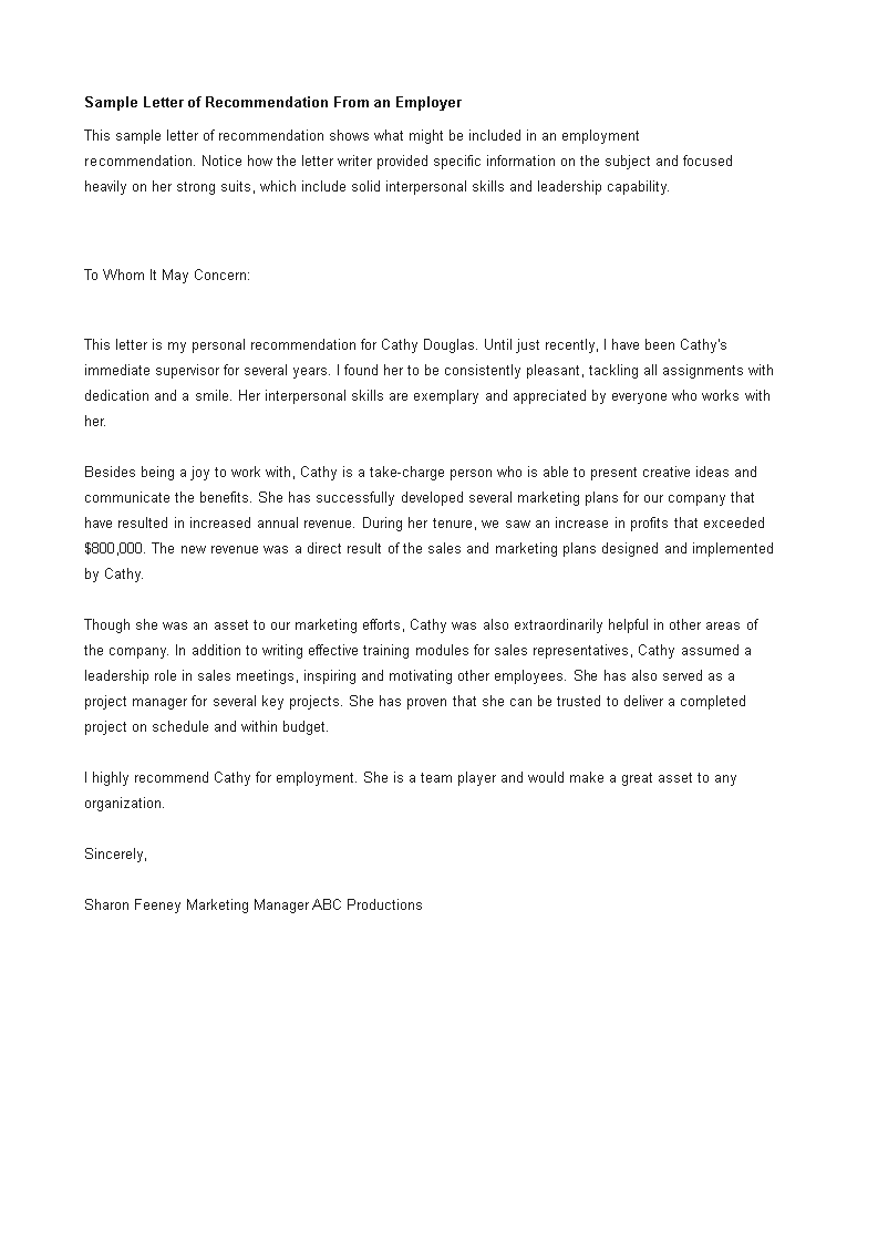 letter of recommendation for a job from employer main image