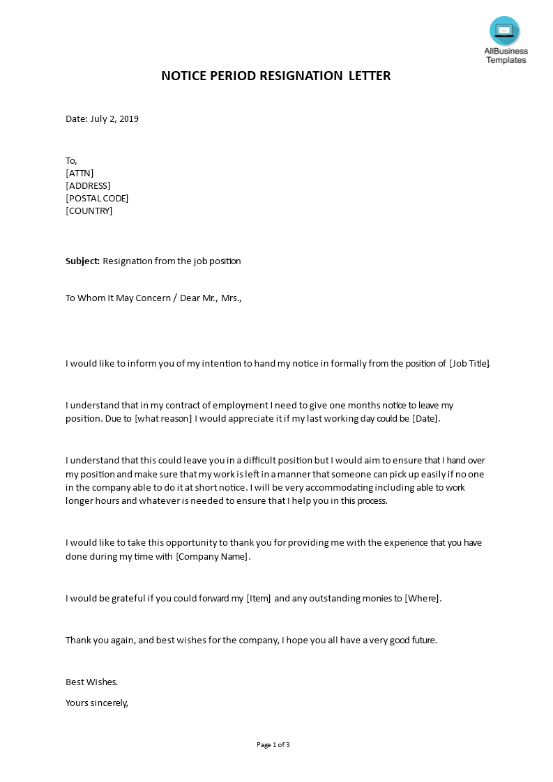 Notice Period Resignation Letter Example | Templates at ...