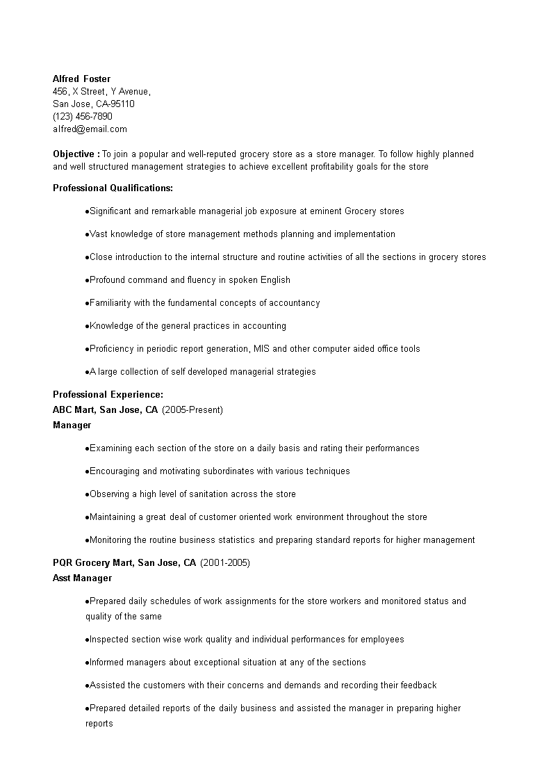 Gratis Grocery Store Manager Resume