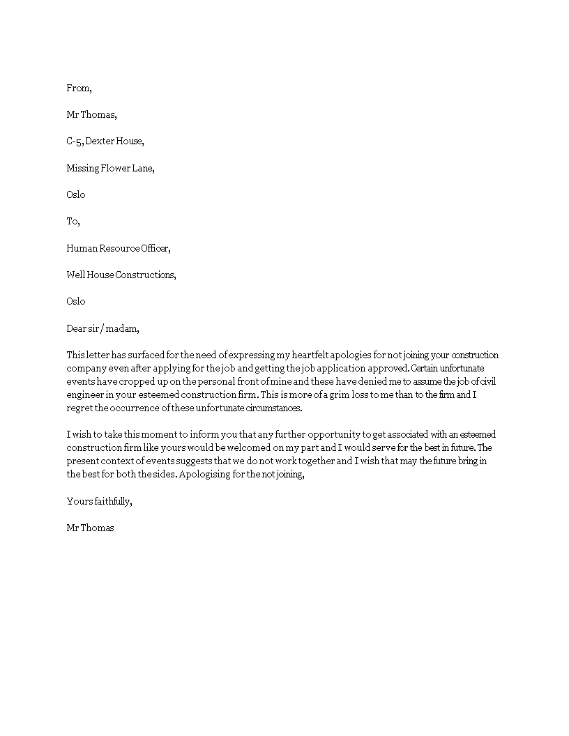 Free apology letter for not joining company templates at apology letter for not joining company main image download template spiritdancerdesigns Gallery