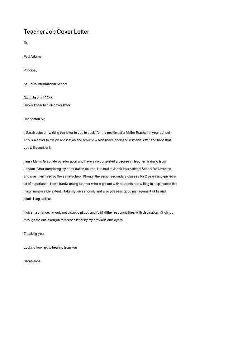 Cover Letter for Teacher Job | Templates at ...