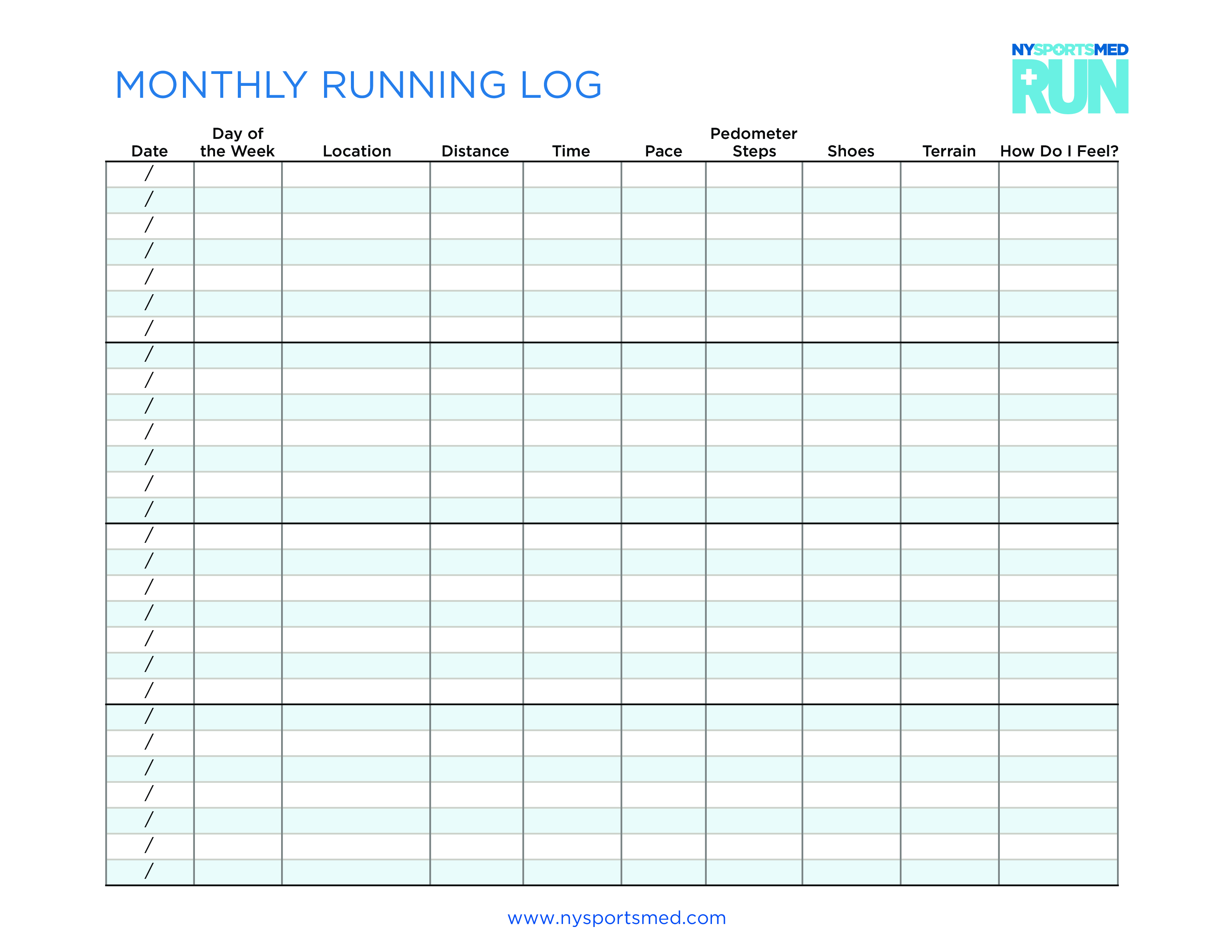 It is a photo of Obsessed Printable Running Log