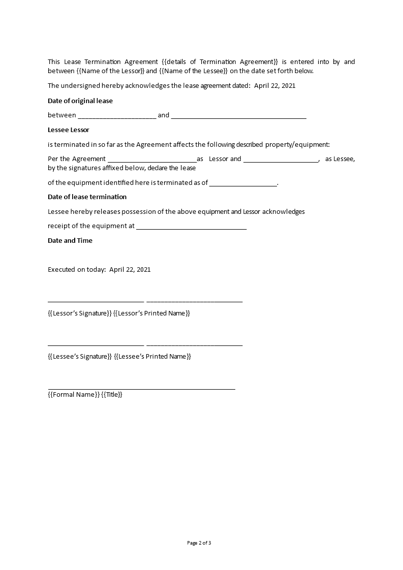 Equipment Lease Termination Agreement main image