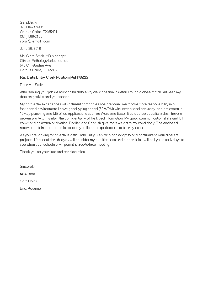 Data Entry Clerk Cover Letter Main Image