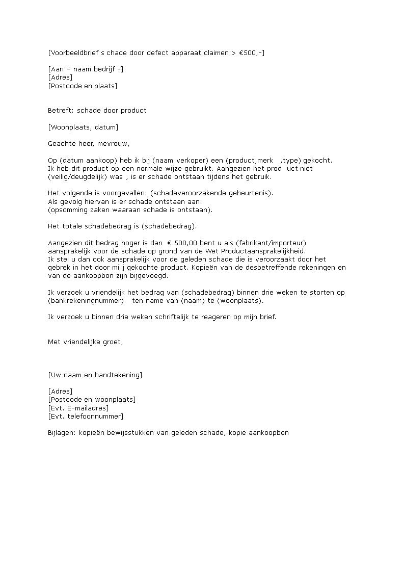 voorbeeldbrief schade claimen Free Aansprakelijk Stellen Geleden Schade — 6photo voorbeeldbrief schade claimen