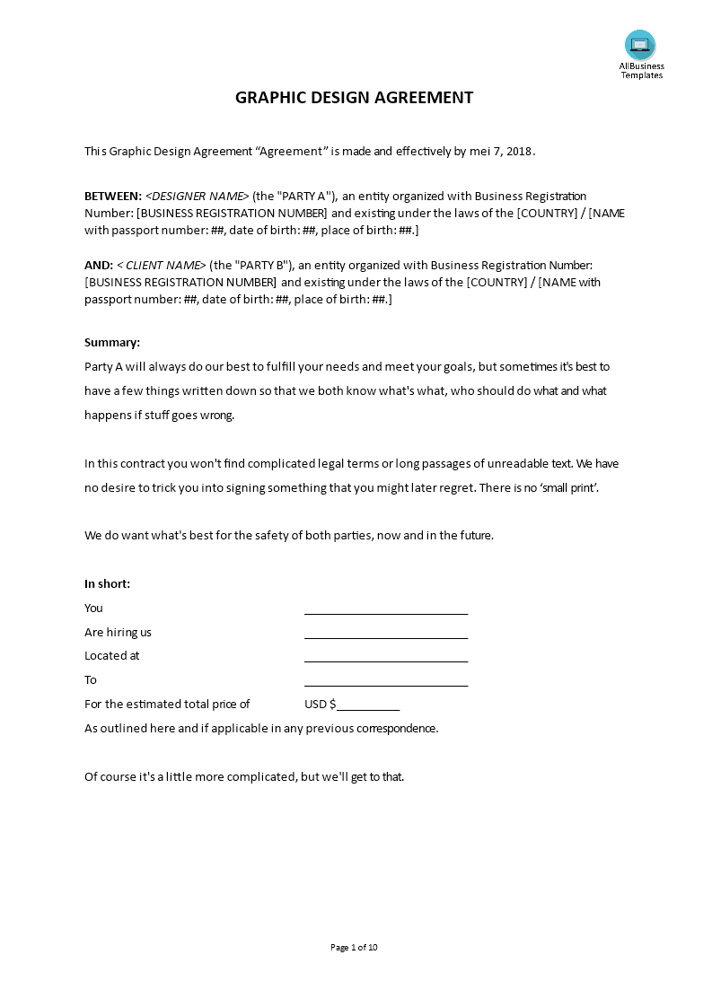 Graphic Design Agreement Templates At