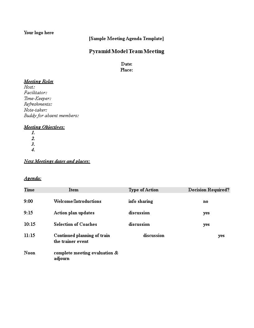 sample meeting agenda outline
