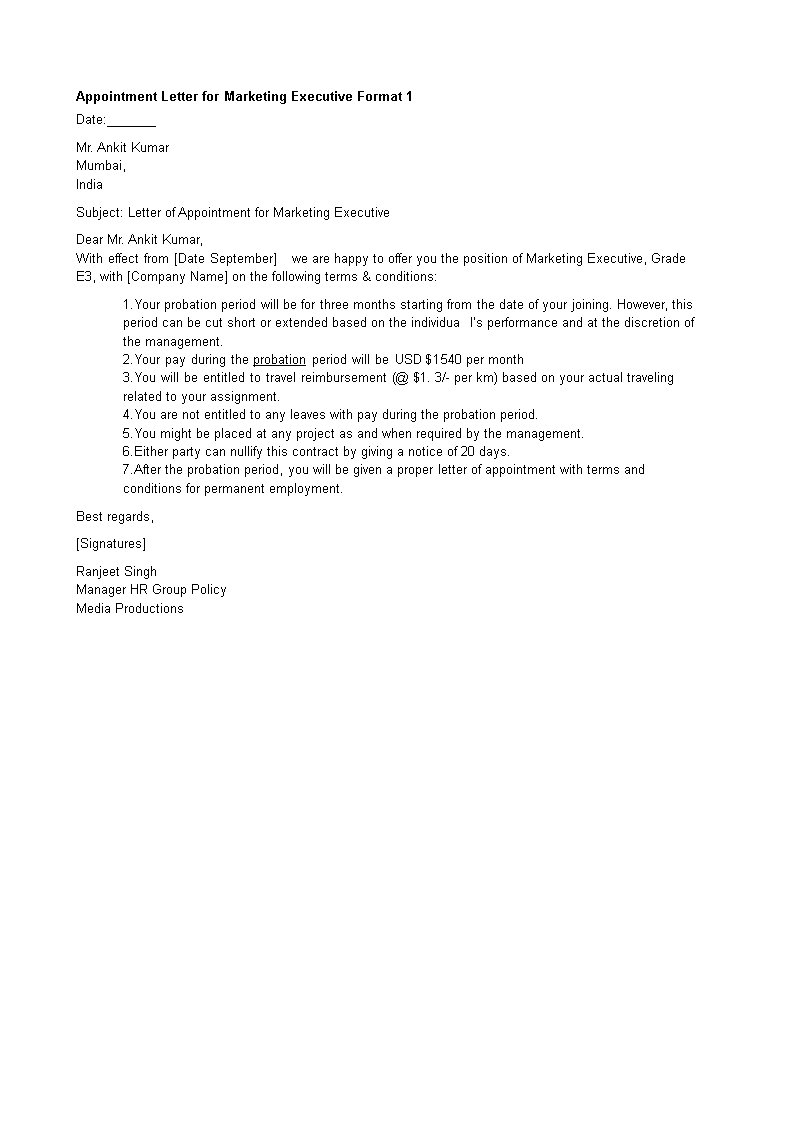 free appointment letter for marketing executive templates at