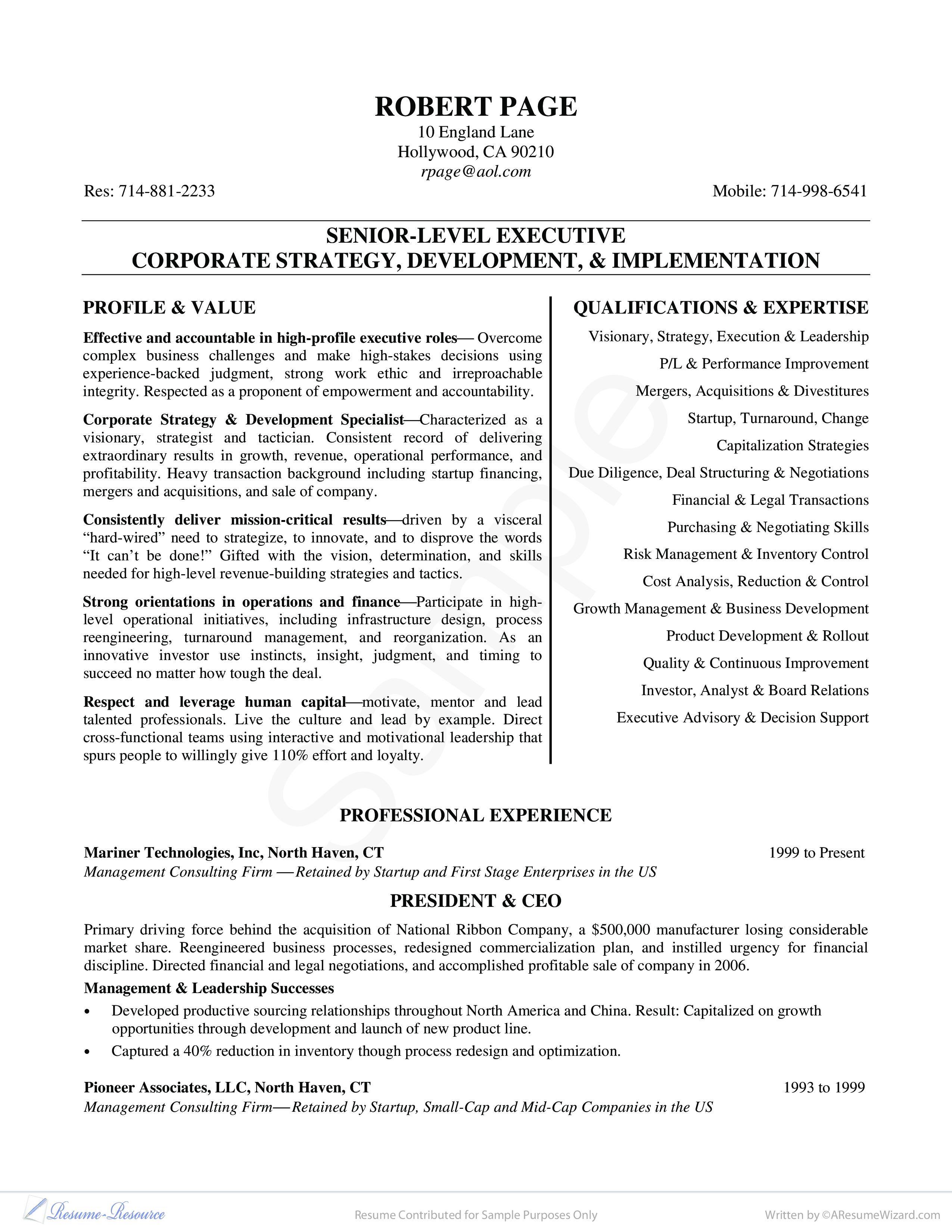 Free Senior-Level Executive Curriculum Vitae | Templates at ...