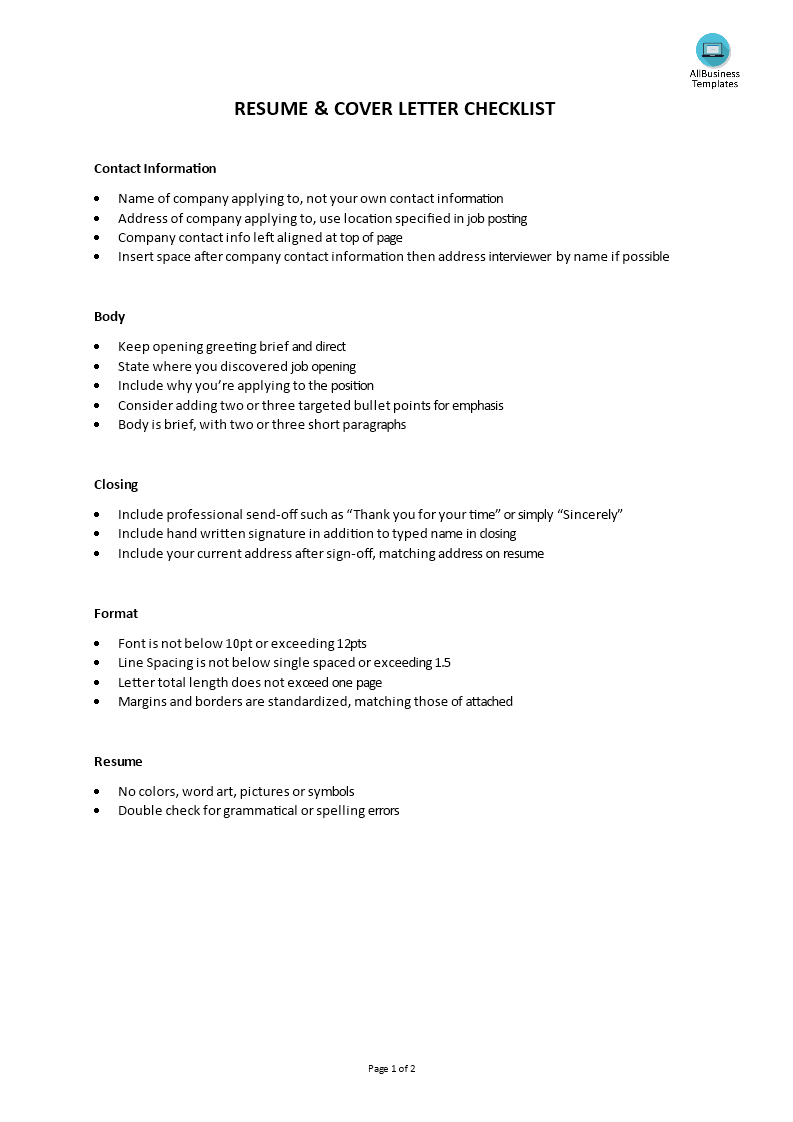 Resume Genius Cover Letter Checklist Templates At