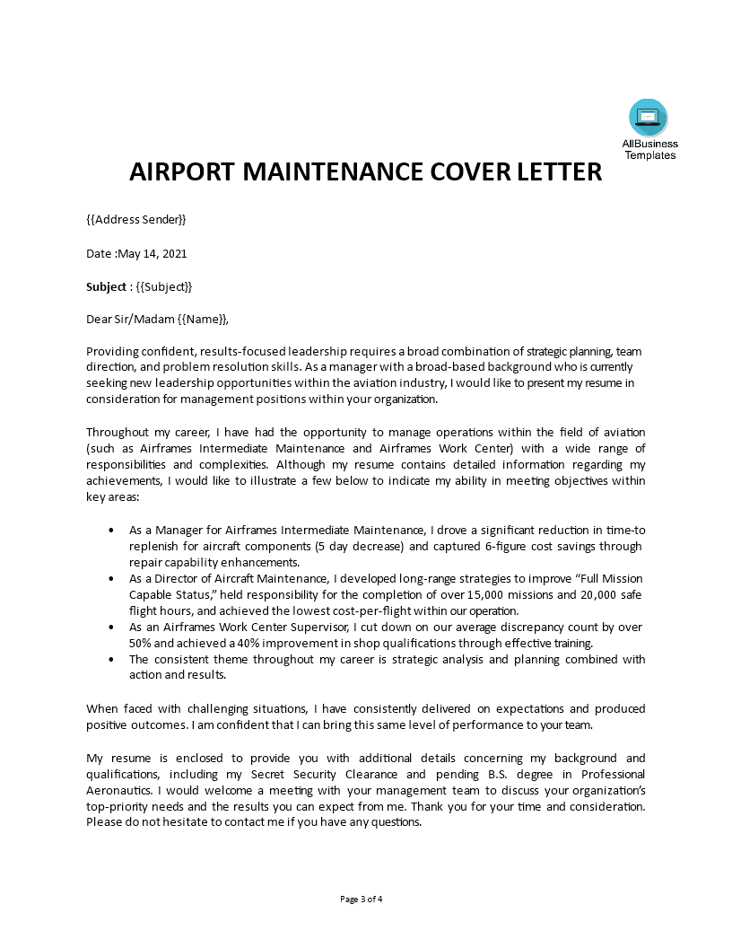 Cover Letter - Military To Aviation | Templates at allbusinesstemplates ...