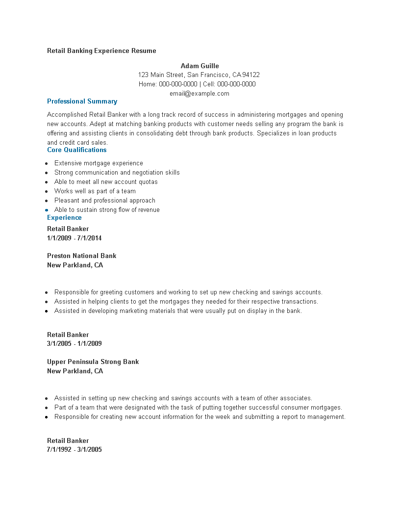 Free Retail Banking Experience Resume | Templates at ...