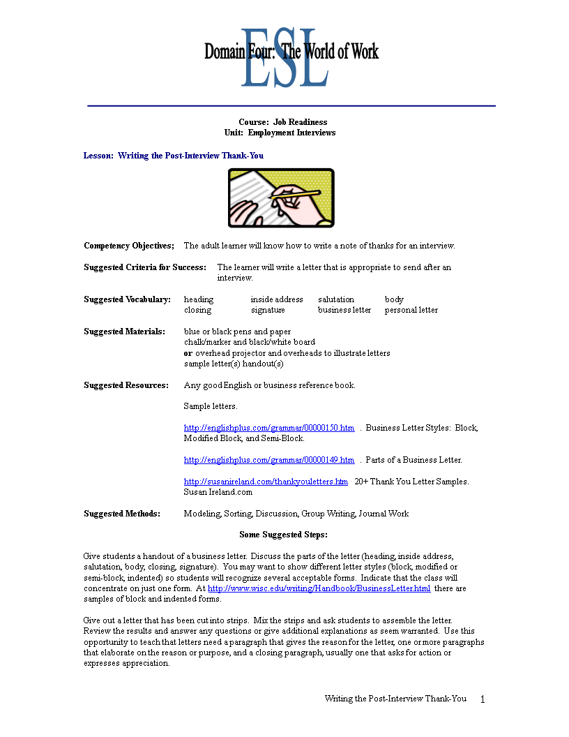free job interview thank you letter word templates at