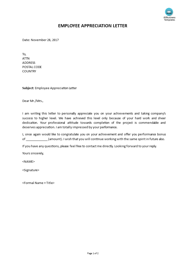 Employee appreciation letter template for Performance bonus template