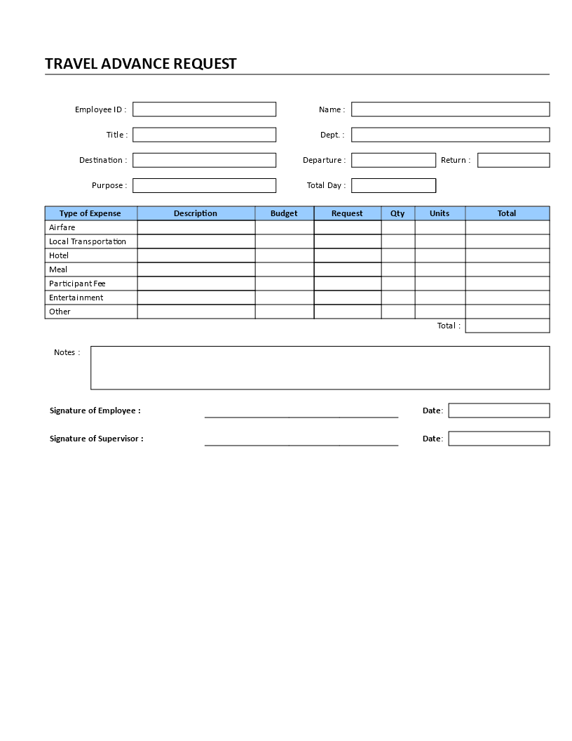 Travel Advance Request Templates At Allbusinesstemplates Com