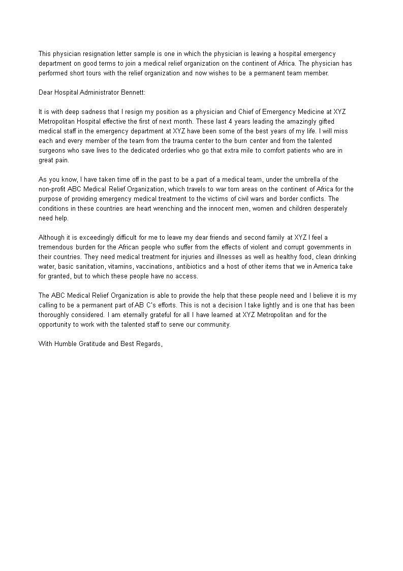 Free Medical Emergency Resignation Letter | Templates at ...