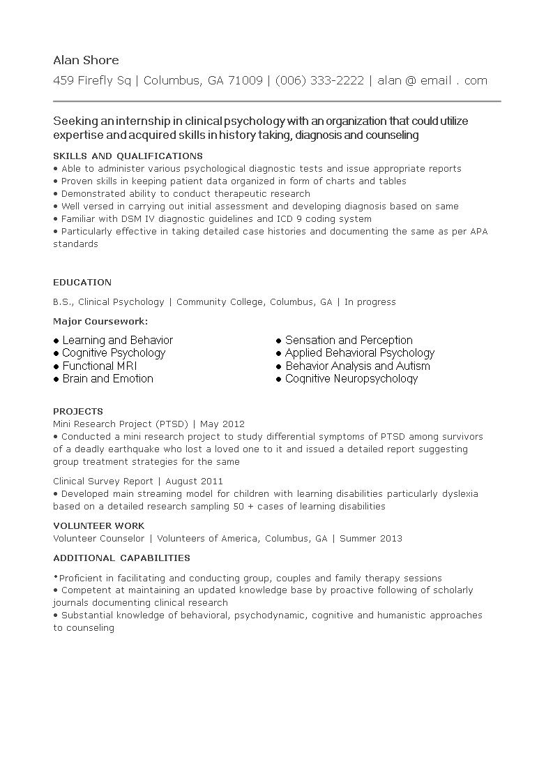 how to write a curriculum vitae for internship