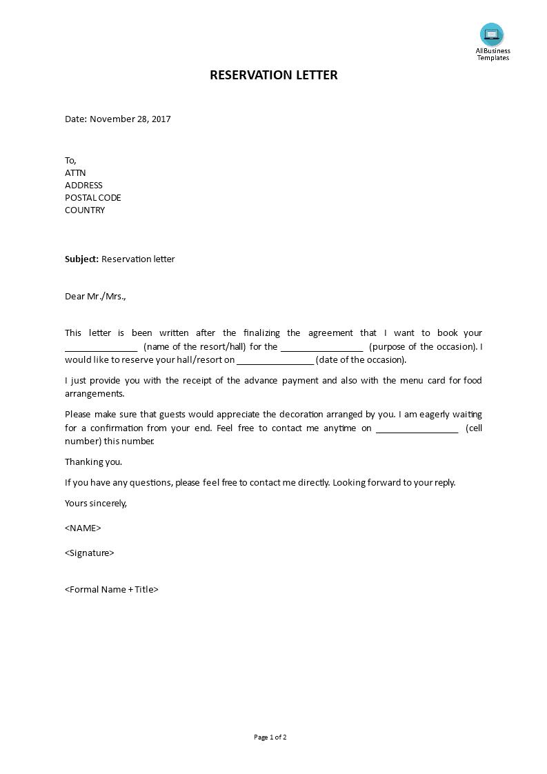Reservation Letter Main Image