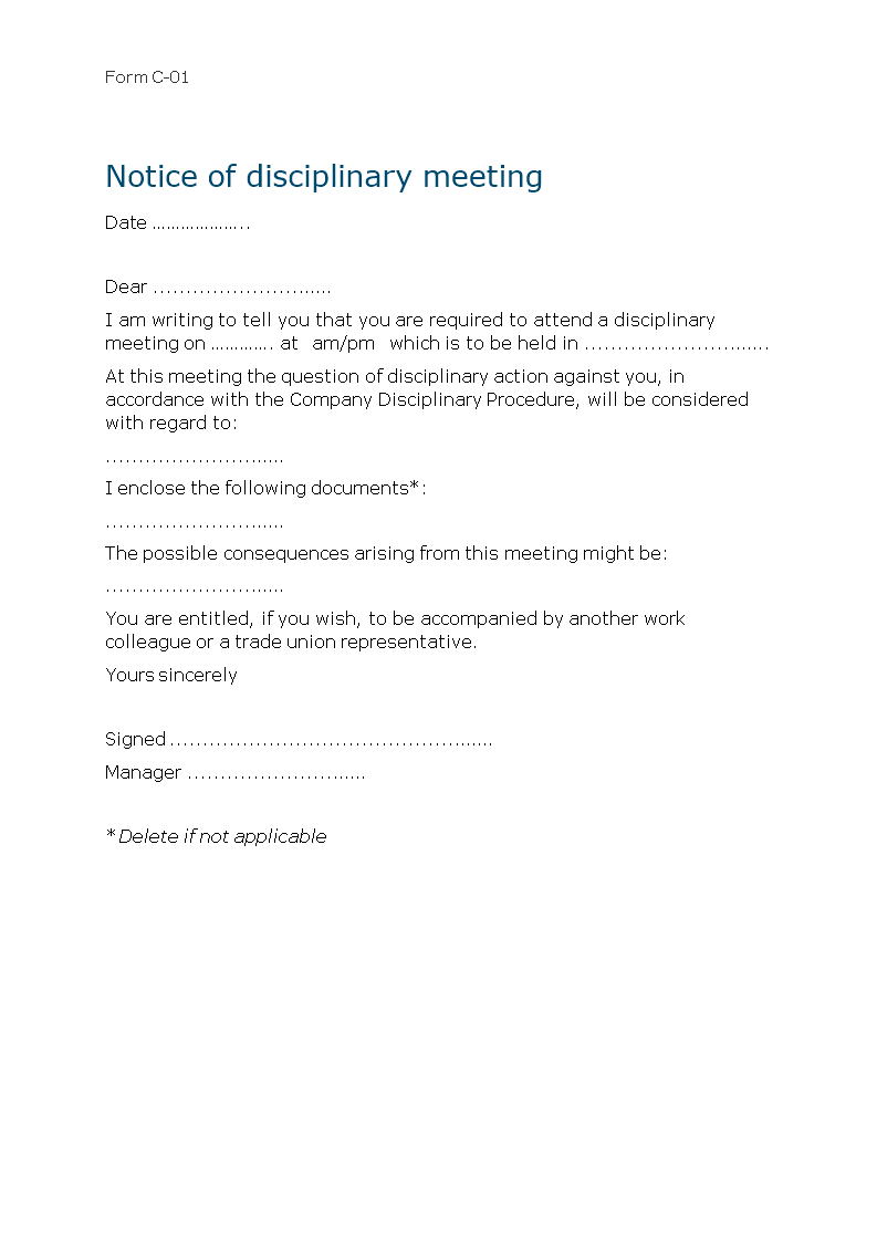 Free sample letter employee disciplinary meeting templates at sample letter employee disciplinary meeting main image spiritdancerdesigns