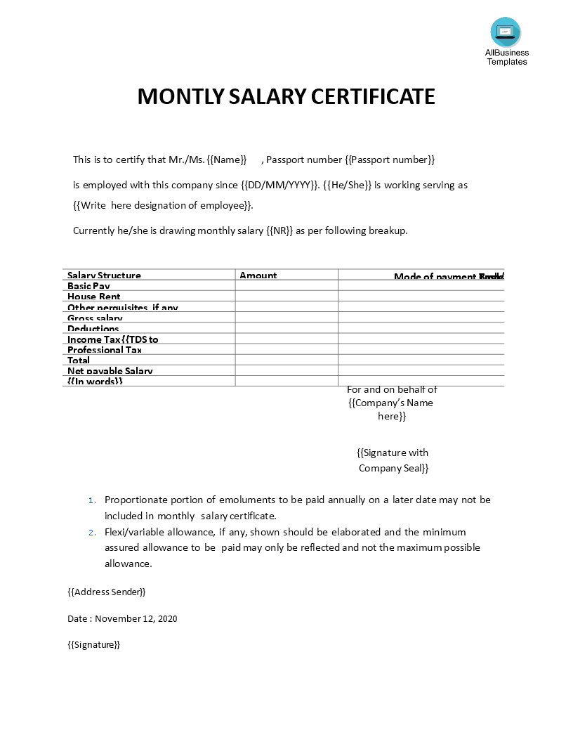 Salary Certificate Letter | Templates at allbusinesstemplates com