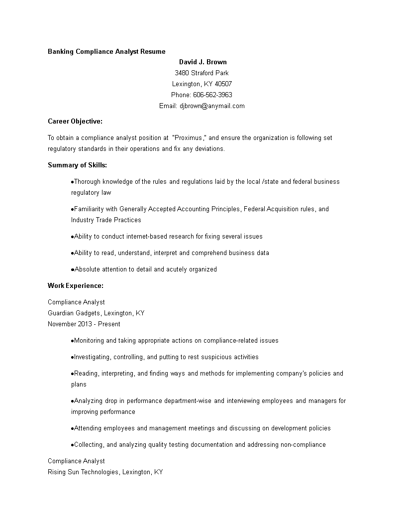 banking compliance analyst resume