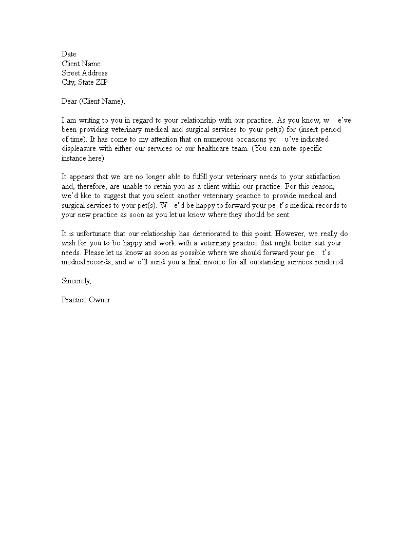 Free Client Termination Letter | Templates at allbusinesstemplates.com