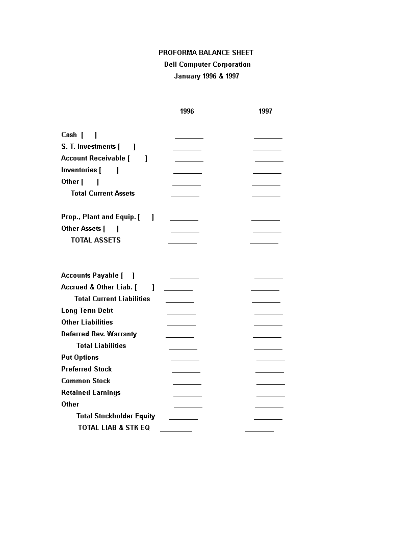 free proforma balance sheet templates at