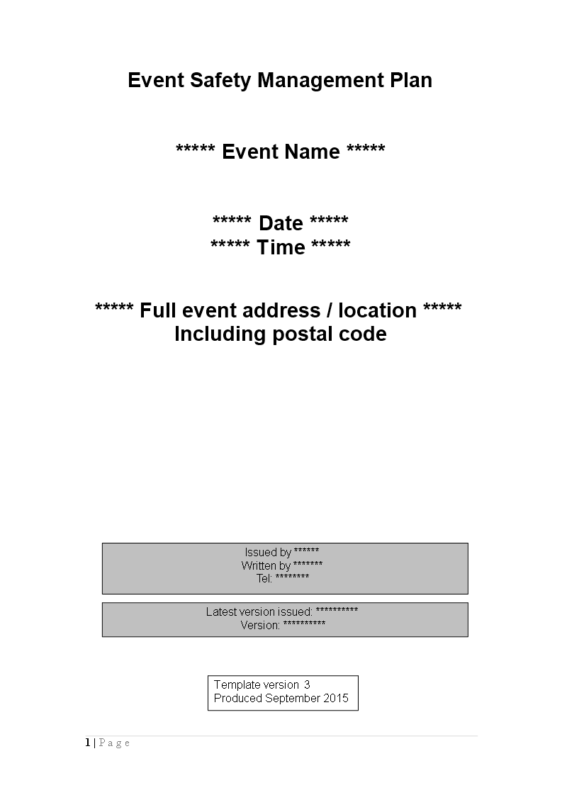Free Event Safety Management Plan Word template   Templates at ...
