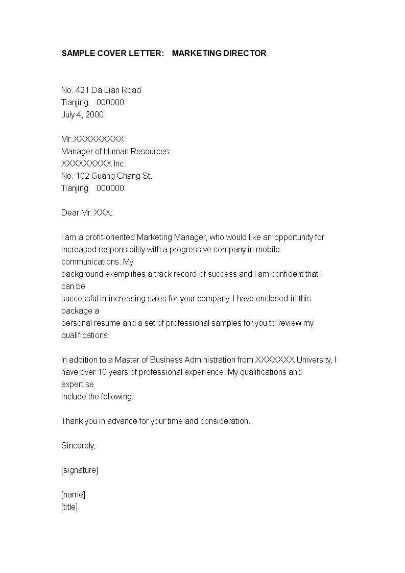 Marketing Manager Application Cover Letter Sample Templates At Allbusinesstemplates Com