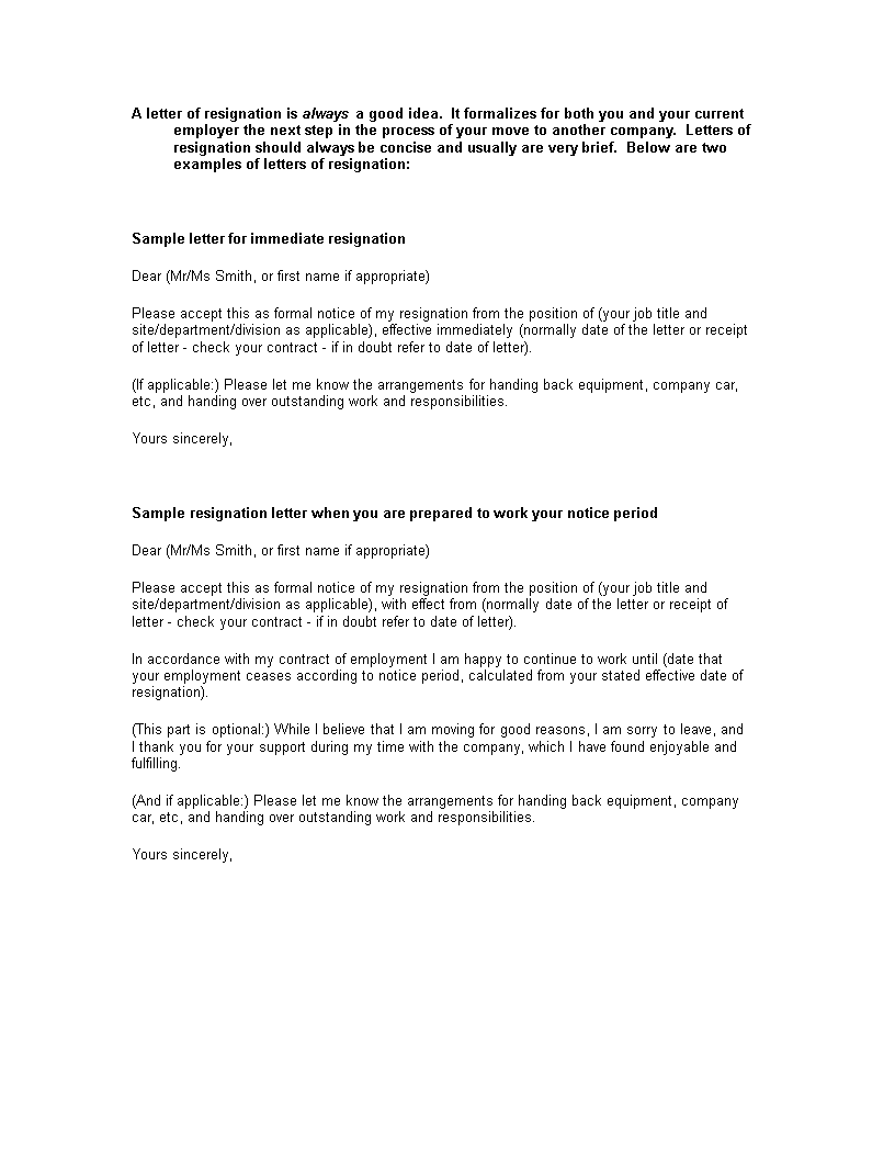 Official Employment Resignation Letter Main Image Download Template