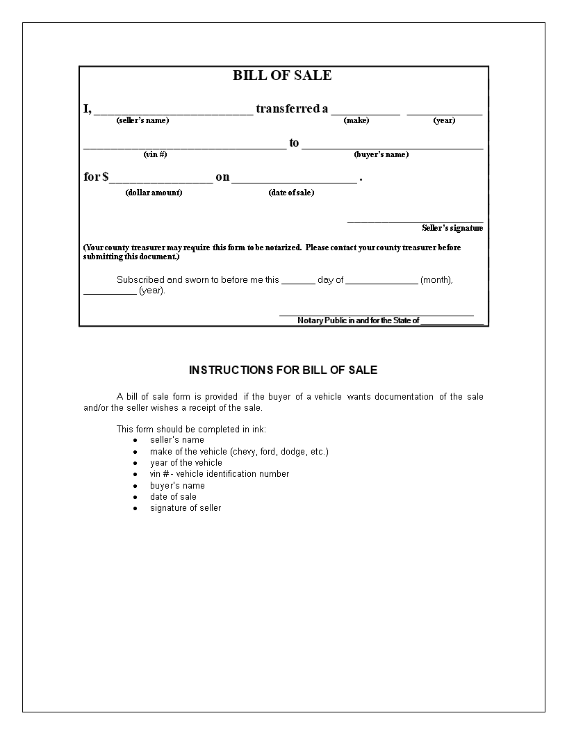 free generic bill of sale for motorcycle templates at
