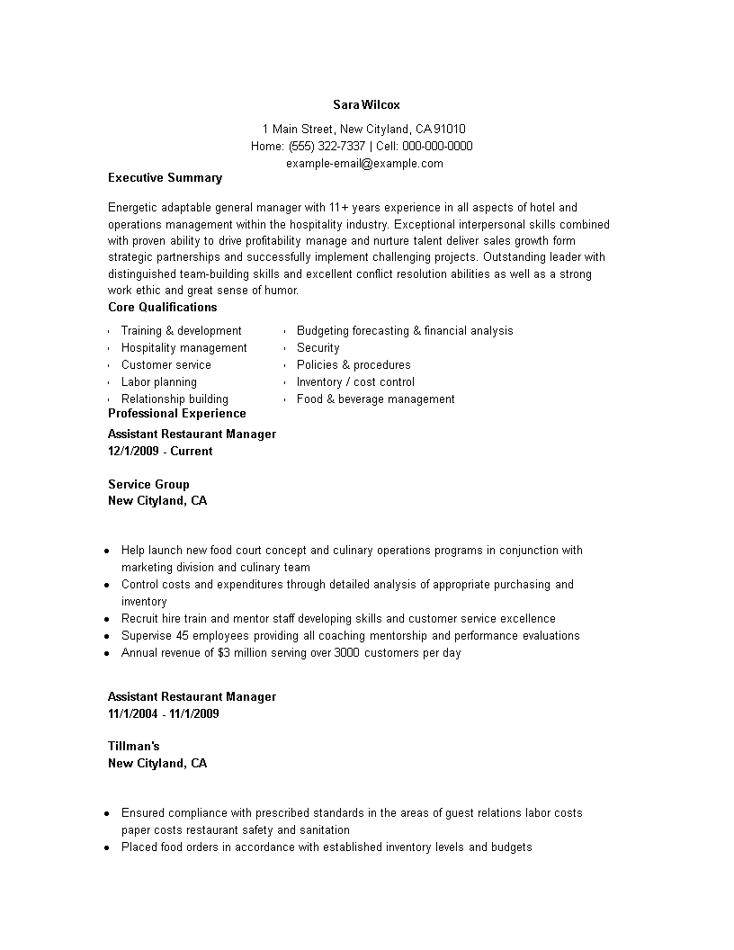 Assistant Restaurant Manager Resume Templates At