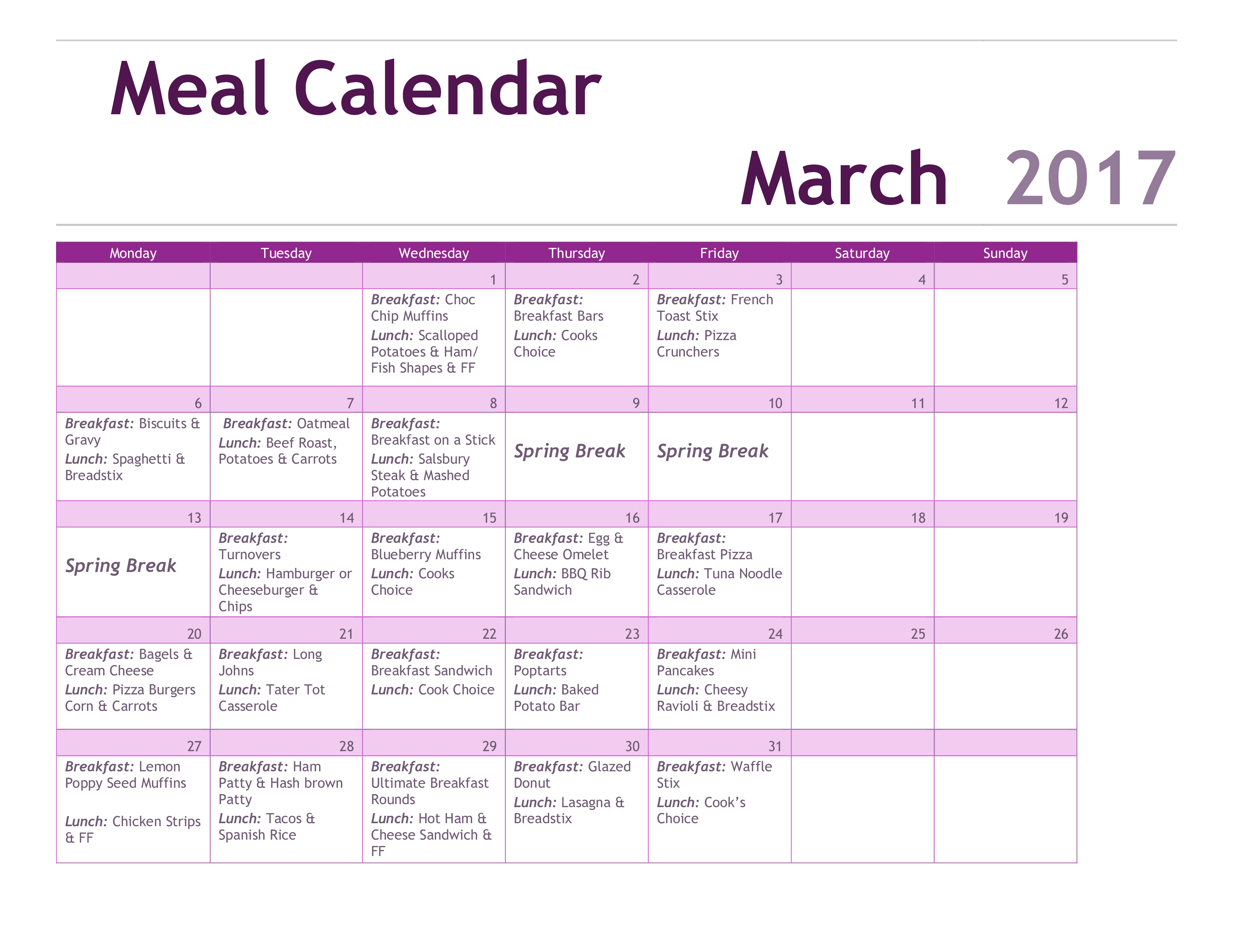 Free Printable Meal Calendar Pdf Templates At Allbusinesstemplates