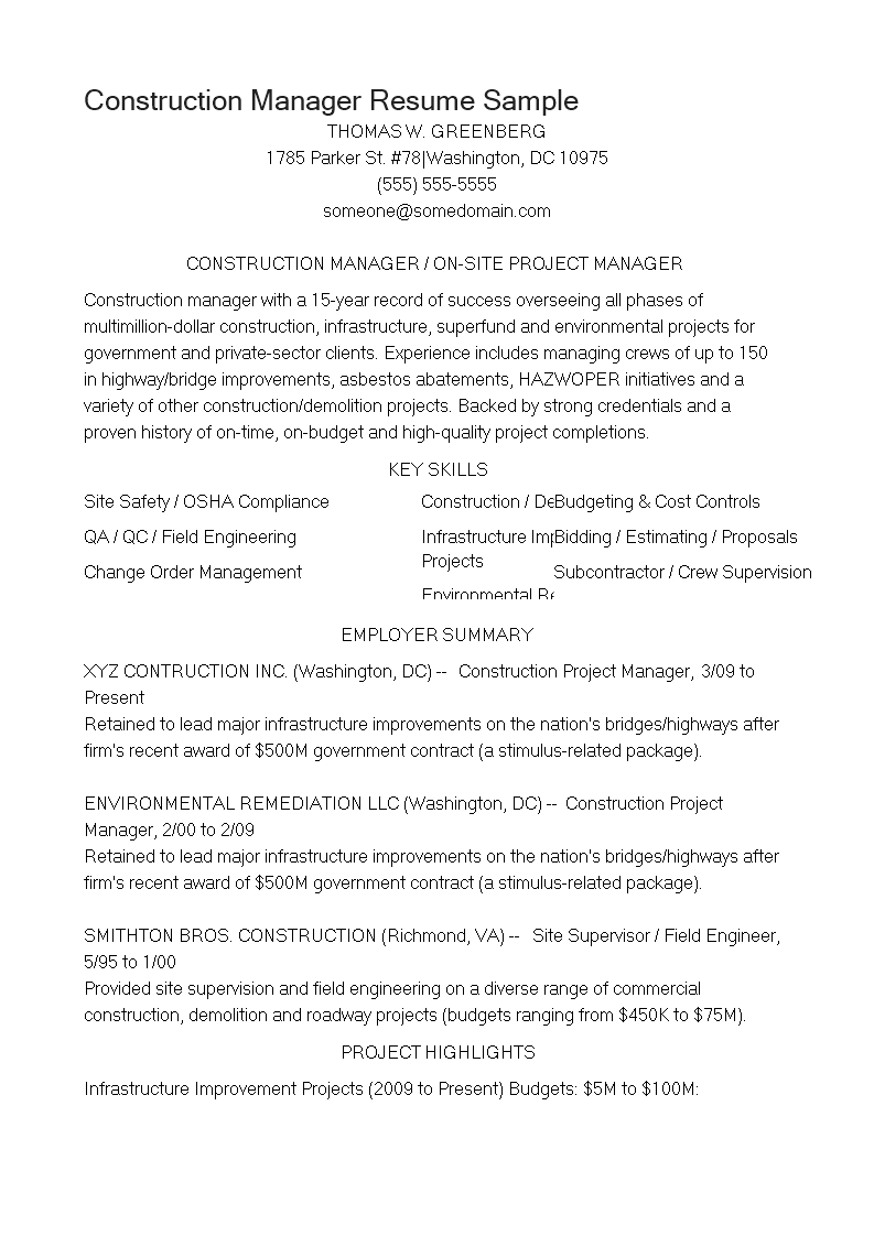 Free Construction Manager Resume Sample | Templates at ...