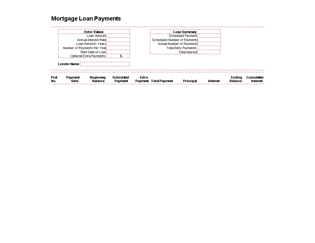 Mortgage Loan Amortization Schedule main image