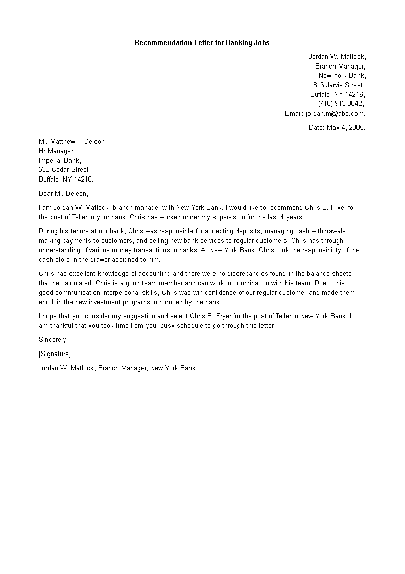 Free Personal Banker Letter Of Recommendation Templates At