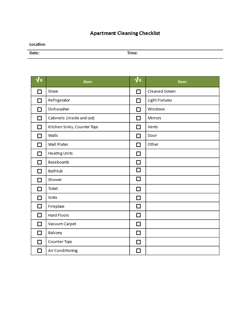 Apartment Cleaning Checklist template main image