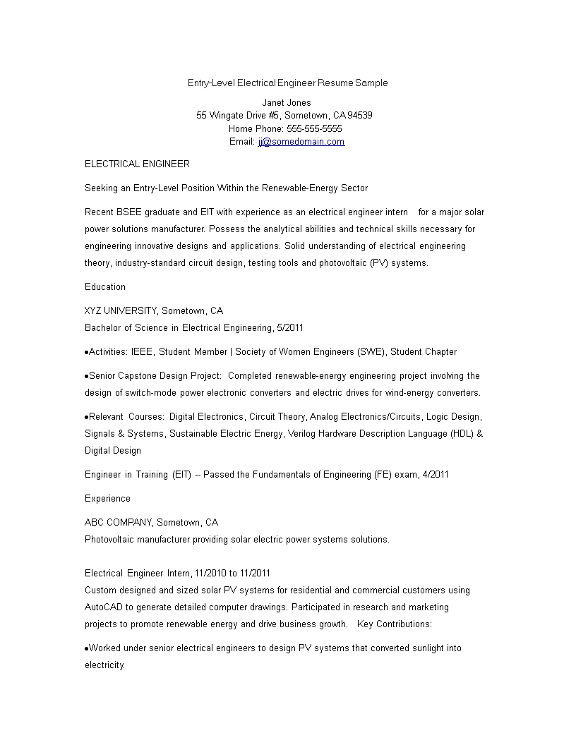 免费Entry Level Electrical Engineering Resume | 样本文件在 ...