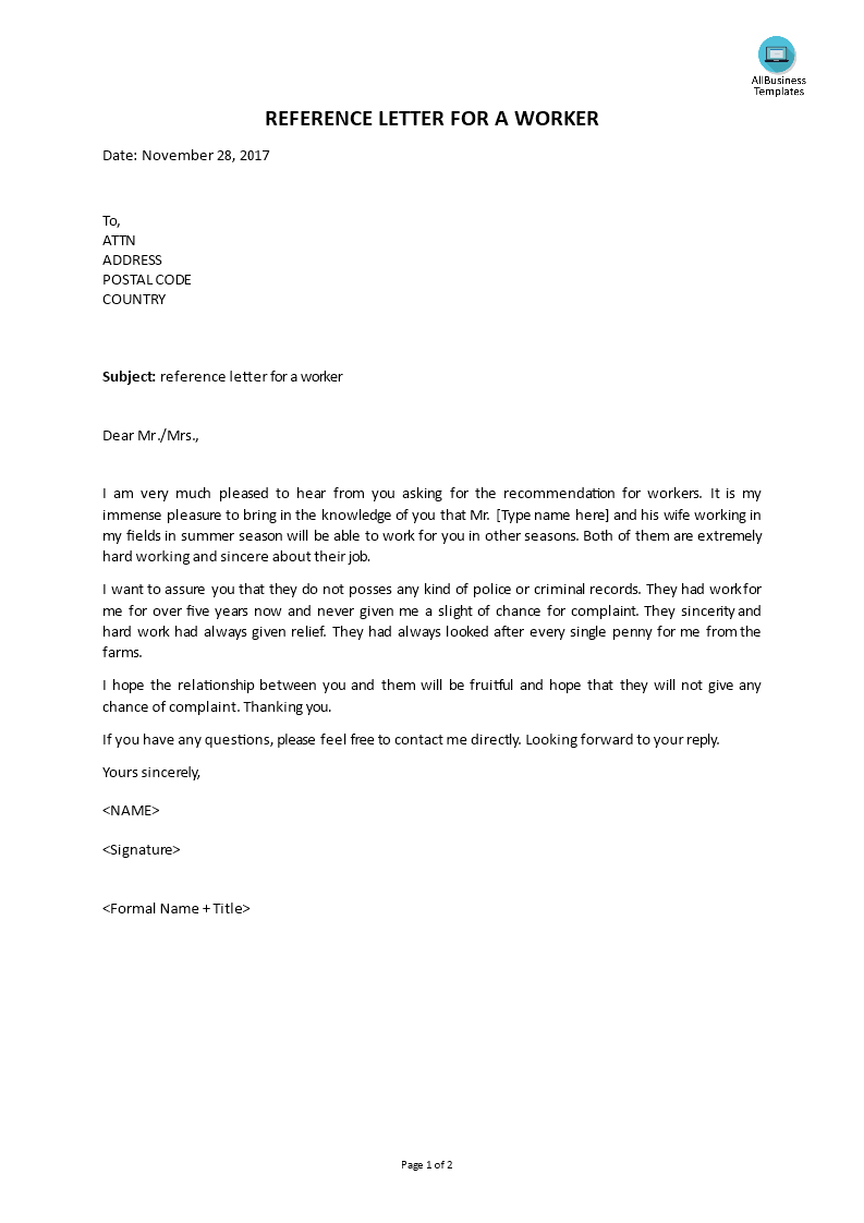 Reference Letter from Landlord main image