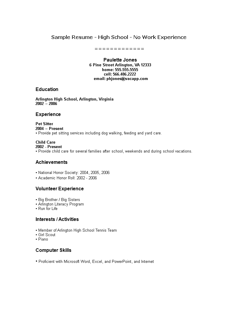 Resume Format For College Student With No Work Experience